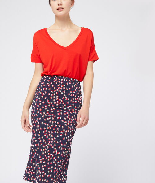 Falda recta estampado floral