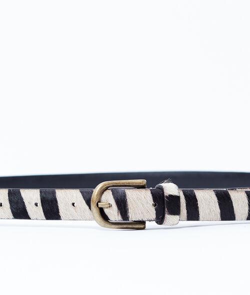 Cinturón de cuero estampado cebra