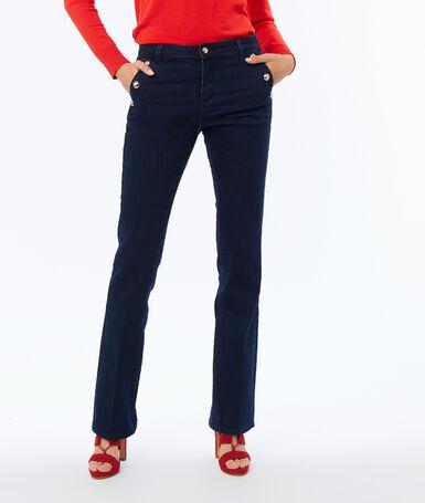 Pantalón recto botones laterales azul.