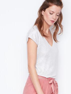 Camiseta escote en v lúrex y lino blanco.