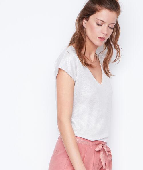 Camiseta escote en V lúrex y lino