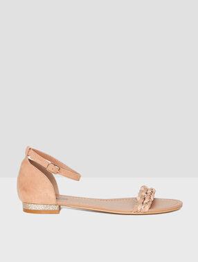 Sandales double tresse nude.