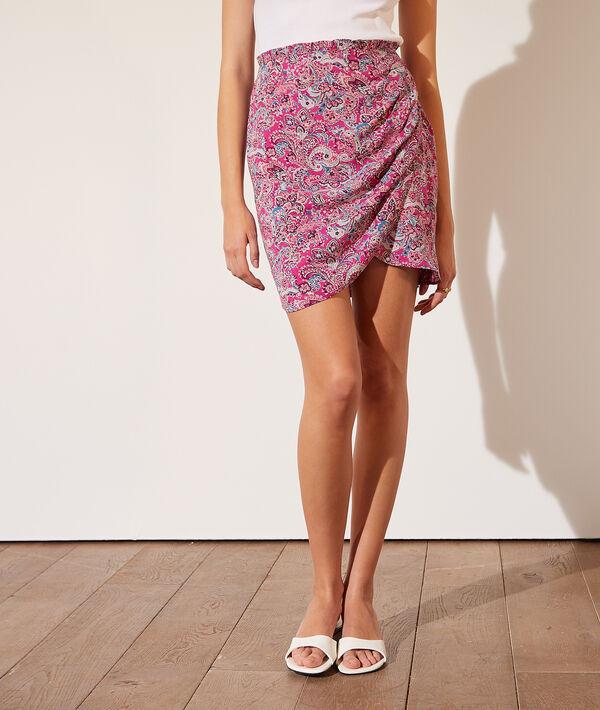 Falda drapeada estampado floral