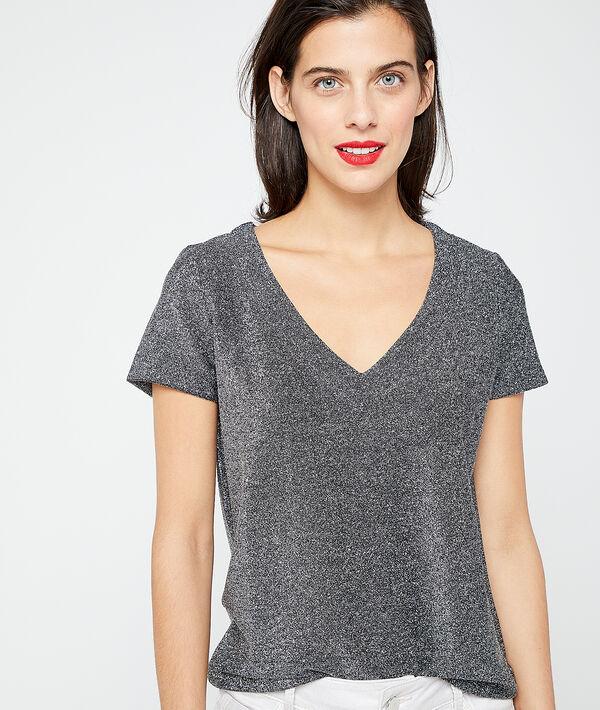 Camiseta cuello en V plateado