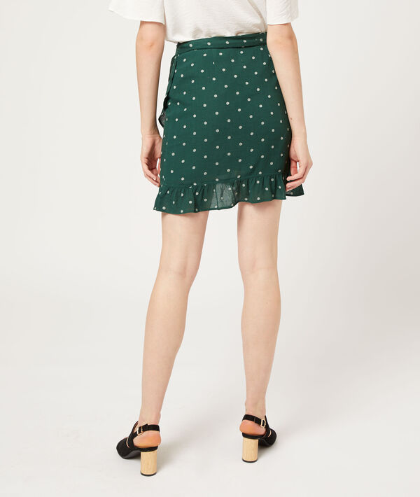 Falda con volantes, estampado de lunares