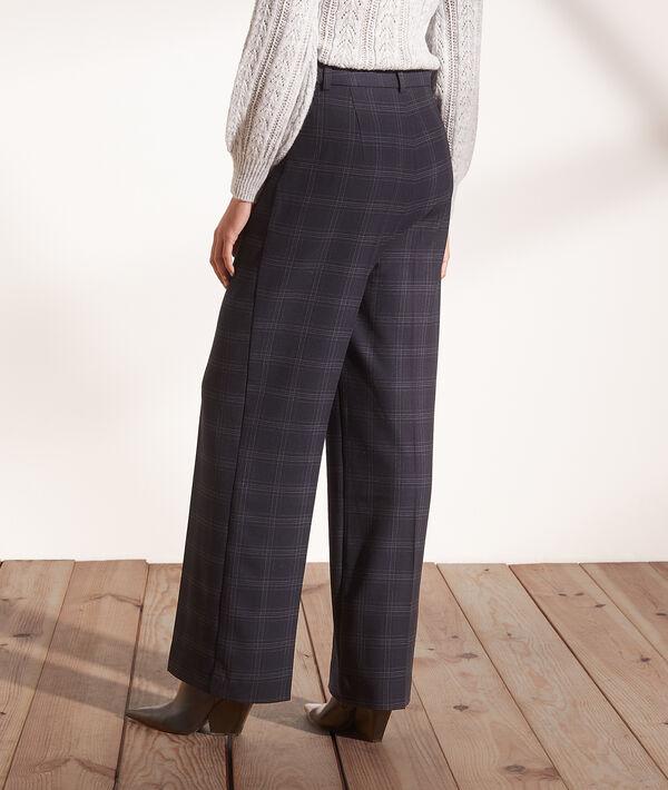 Pantalón ancho estampado de cuadros