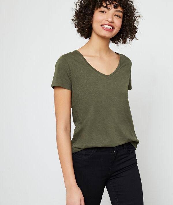 Camiseta cuello en V de algodón orgánico