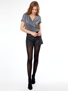 Pantalón corto jacquard negro.