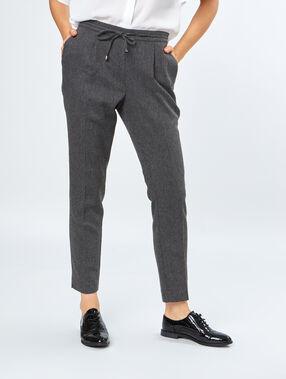 Pantalon 7/8 à pinces gris chine moyen.