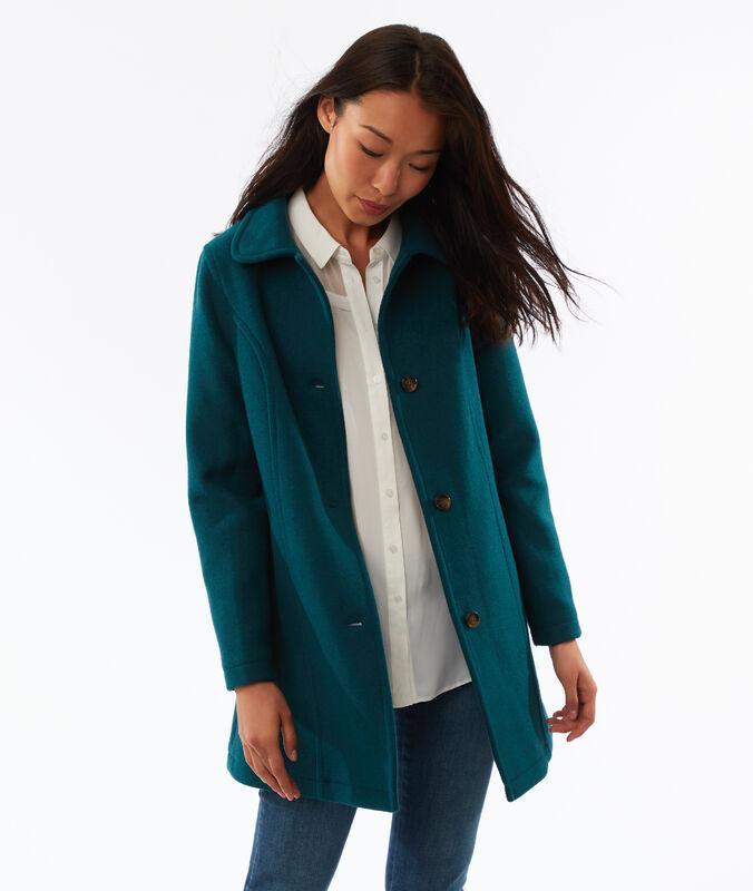 Abrigo 3/4 lana mezclada azul turquesa.