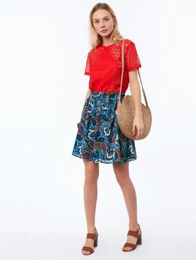 Falda estampado floral azul marino.