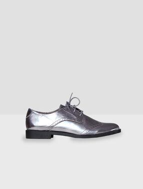 Zapatos con cordones plateados plata.