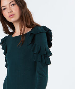 Robe pull manches avec volants forêt.