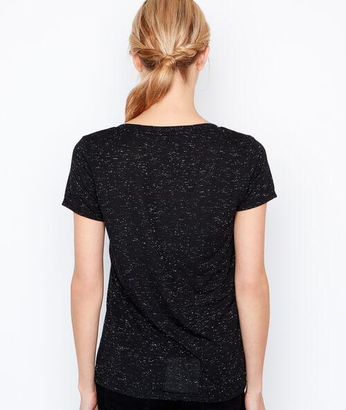 Camiseta escote en V efecto metalizado