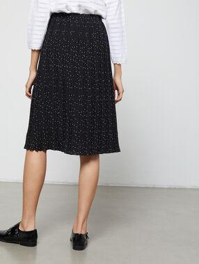 Falda midi plisada estampado de lunares negro.
