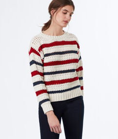 Jersey tricotado de rayas crudo.