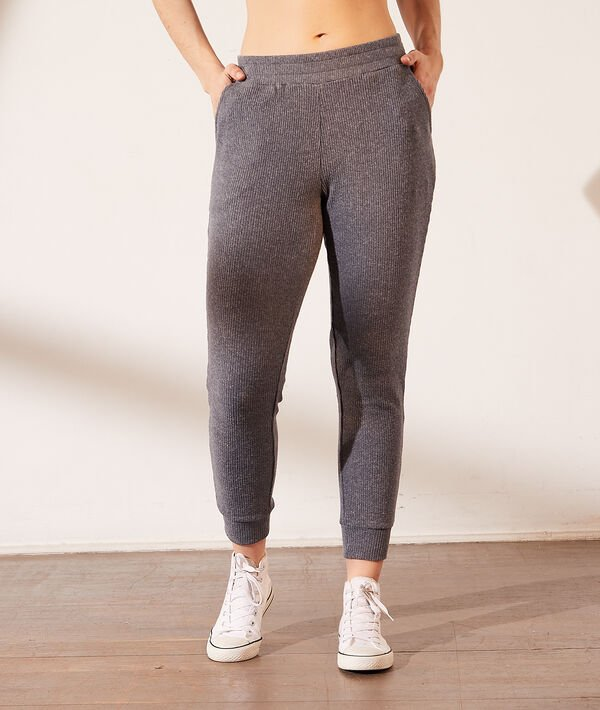 Pantalón jogger, tejido canalé