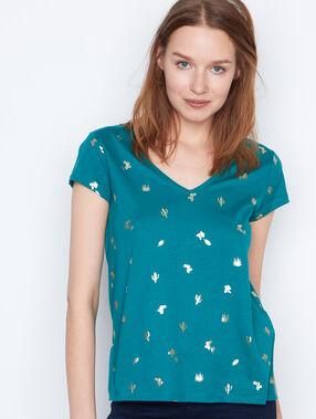 Camiseta estampado dorado verde esmeralda.