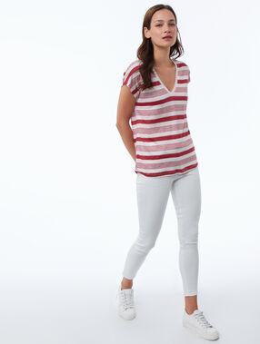 Camiseta manga corta estampado rayas de lino rojo.