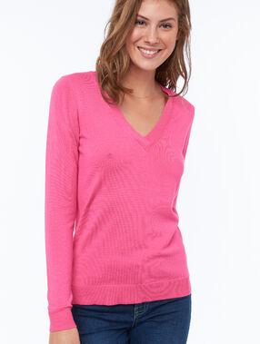 Jersey liso escote en v rosa.