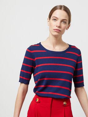 Jersey manga corta cuello redondo estampado rayas azul marino.
