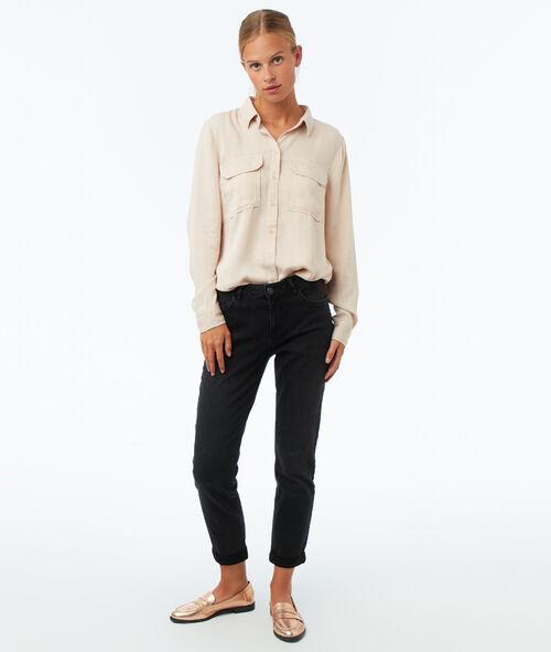 Camisa manga larga dos bolsillos tencel