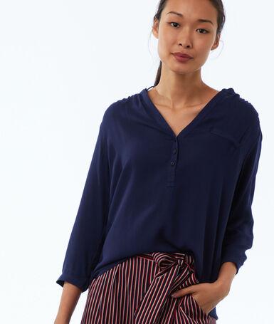 Blusa lisa manga 3/4 azul marino.
