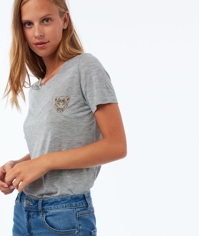 Camiseta con bordado tigre c.gris.