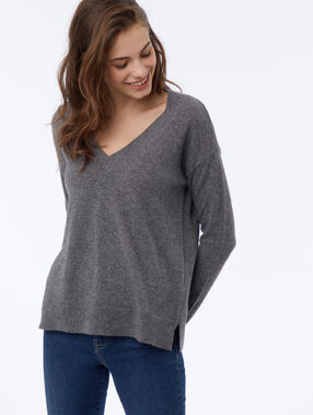 Pull en cachemire anthracite.