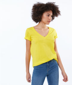 T-shirt col v en coton citron.