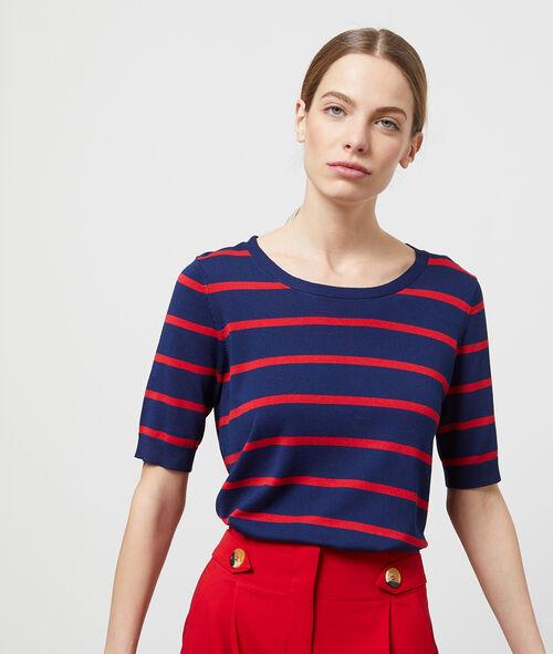 Jersey manga corta cuello redondo estampado rayas