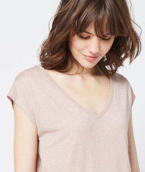 Camiseta metalizada con cuello en V