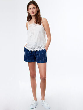 Pantalón algodón ceñido con lazada  c.denim.