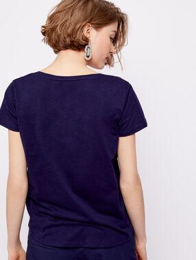Camiseta cuello en v 100% algodón bio azul marino.
