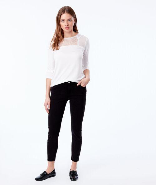 Camiseta manga larga escote guipur