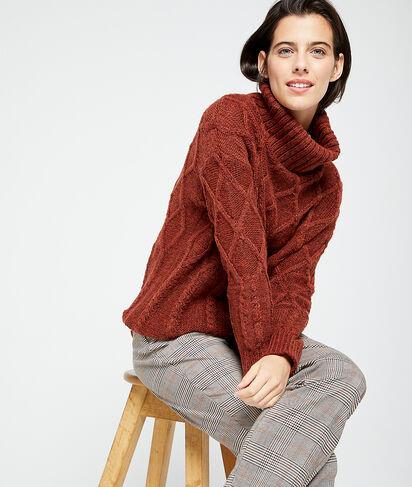 Suéter de cuello alto en punto grueso
