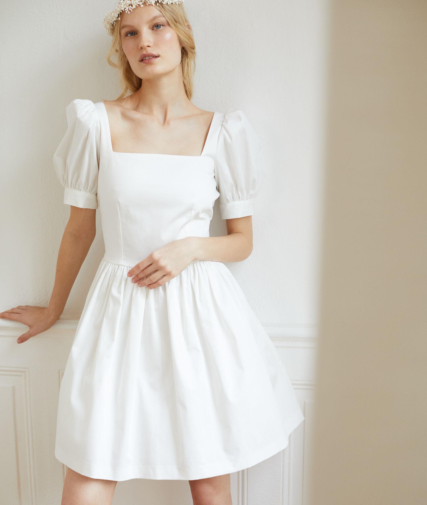 62ba04234 Vestido con mangas globo en satén de algodón - LILY - CRUDO - Etam