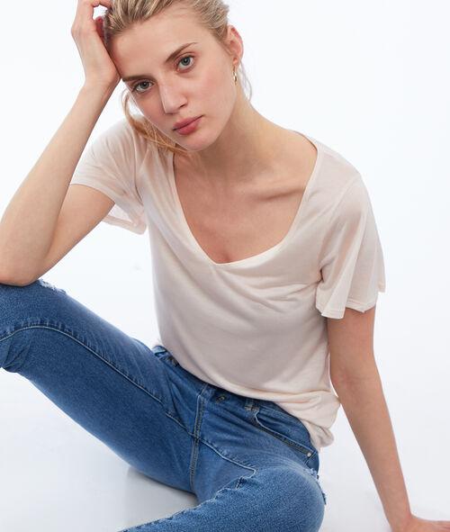 Camiseta escote en V tencel