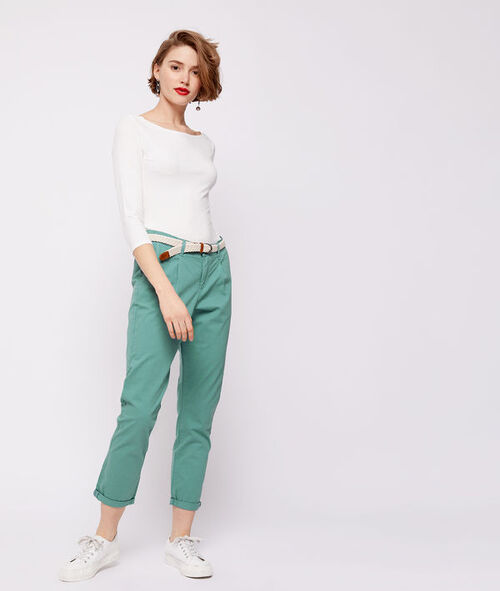 Pantalón con cinturón de algodón bio