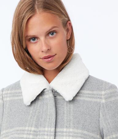 Manteau à carreaux texturé gris clair chiné.