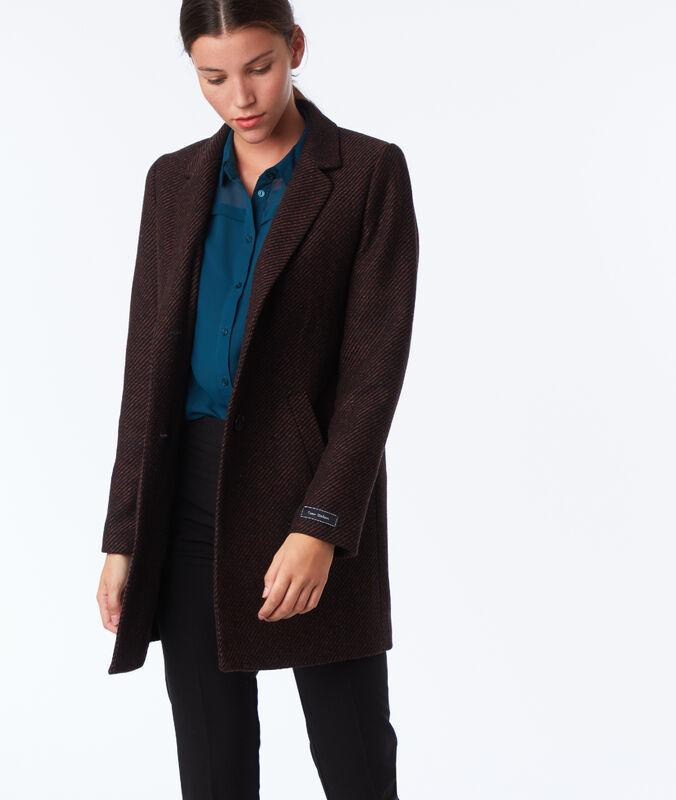 Abrigo 3/4 lana rojo y negro.