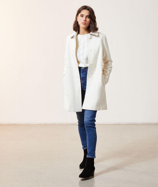 Manteau droit en laine mélangée avec col
