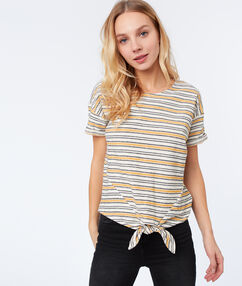 Camiseta estampado de rayas c.ocre.