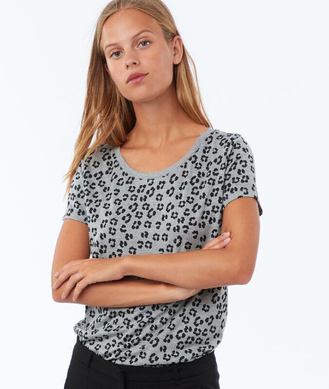 Camiseta estampado leopardo c.gris claro.
