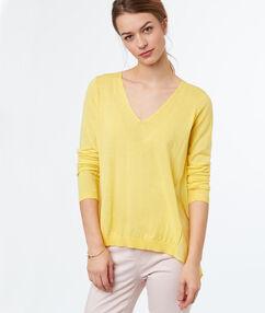 Jersey escote en v dos texturas citron.