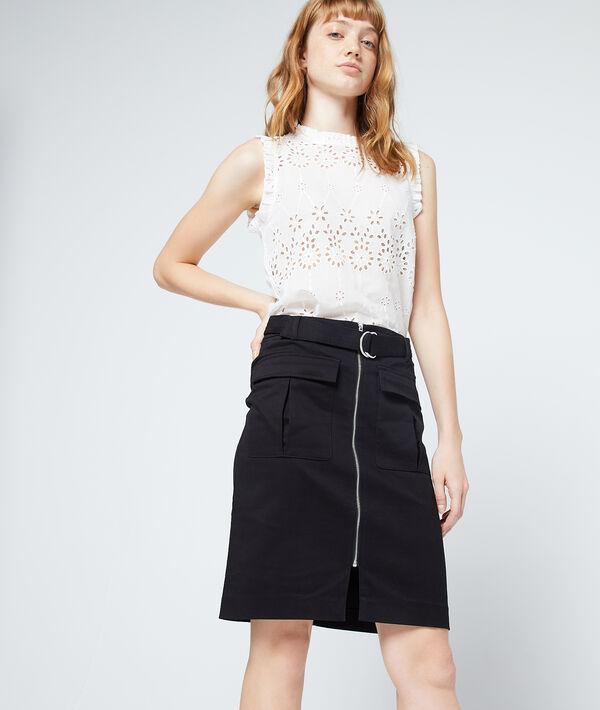 Falda de algodón con cierre de cremallera