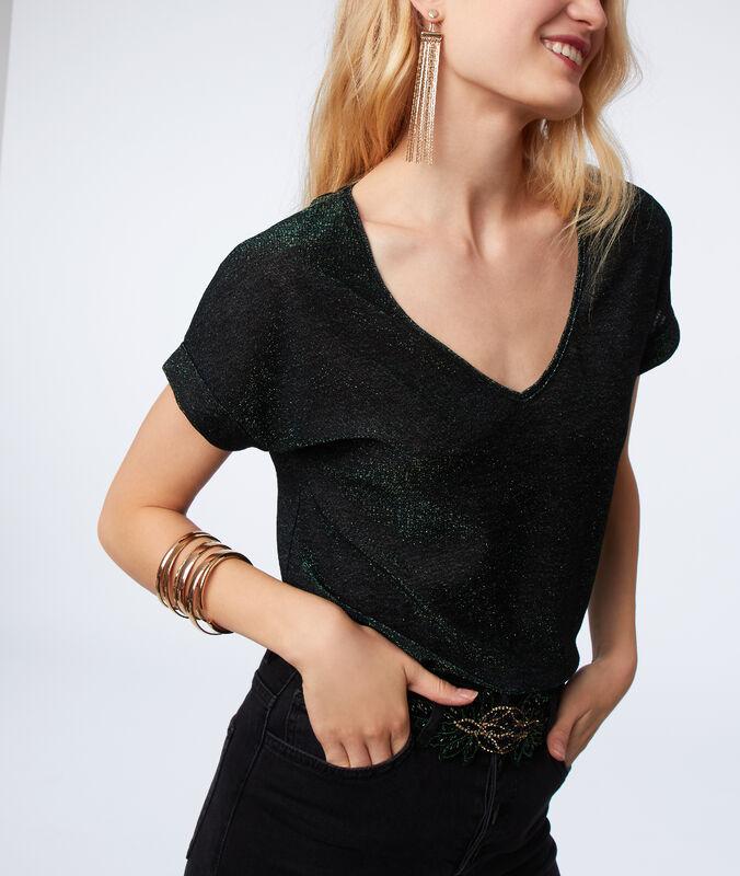 T-shirt à fils métallisés vert.