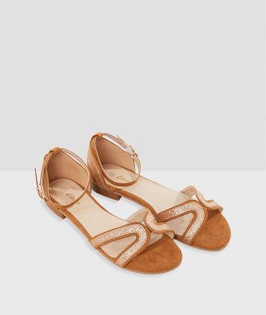 Sandalias con lentejuelas amarillo.