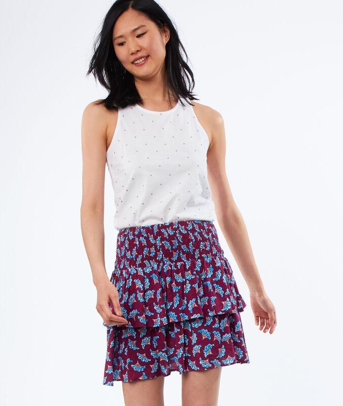 Falda estampado africano carmín.