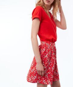 Jupe boutonnée à imprimé floral geranium.